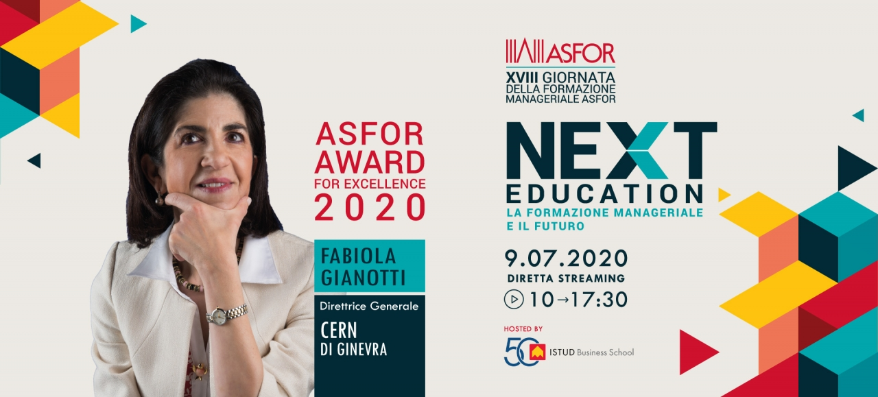 ASFOR Award for Excellence 2020 a Fabiola Gianotti